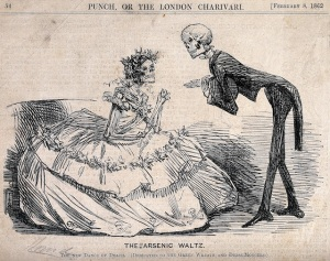 V0042226 Two skeletons dressed as lady and gentleman. Etching, 1862.